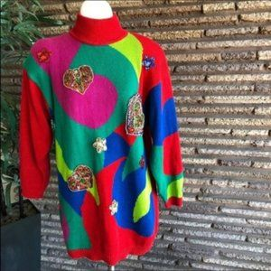 Vintage Bejeweled Colorblock Oversized Sweater
